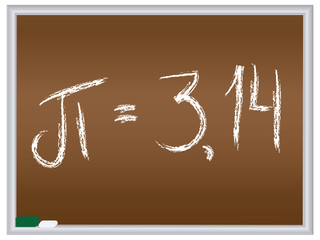 number pi written on chalkboard