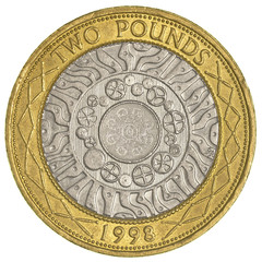 two british pounds coin