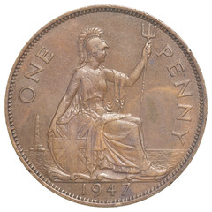 old british penny coin