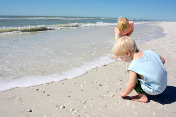 Young children hunting for sea shells on the beach by the ocean
