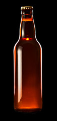 beer bottle isolated on black , saved clipping path