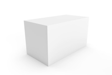 white rectangle box for packaging design on white background