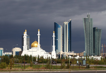 Mosque on a background of the cityscape of Astana