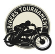 Bikers Tournament label, vector illustration