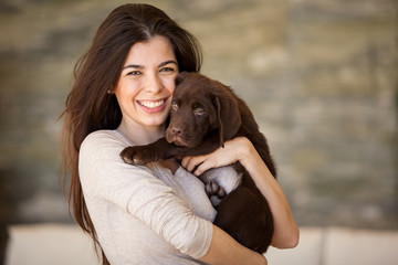Beautiful brunette and her dog