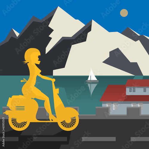 Scooter Girl on the road, vector illustration
