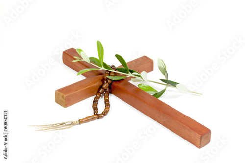 Wooden Cross With Rosary And Olive Branch