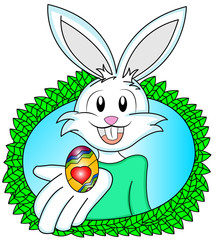 White Easter Bunny giving a decorated golden egg
