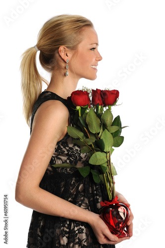 Young Woman Holding Vase with Roses
