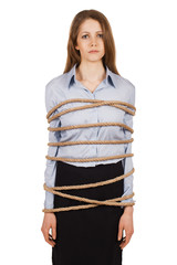 Sad woman tied a strong rope
