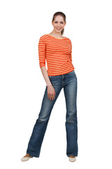 Happy woman in t-shirt and blue jeans