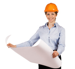 Woman in helmet with a detailed plan
