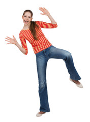 Cheerful woman in jeans having fun