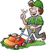 Vector illustration of an happy Gardener with his lawnmower
