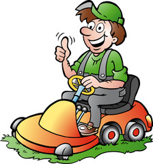 illustration of an happy Gardener riding his lawnmower
