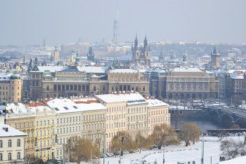 Cityscape of Prague at winter