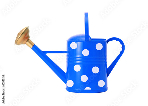 blue polka dot watering can isolated on white