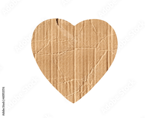 cardboard heart isolated on white