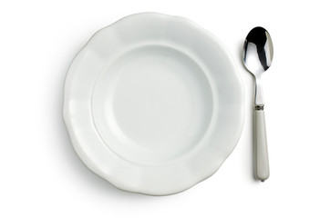 white ceramic plate with spoon