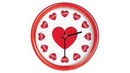 Clock with hearts counting down 12 hours. Seamlessly loops