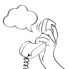 Hand holding a phone, pop art illustration