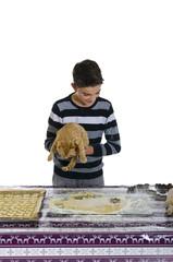 Junge sticht Plätzchen aus, seine Katze hilft dabei.