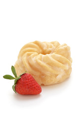 Glazed cruller with strawberry