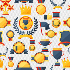 Seamless pattern with trophy and awards.