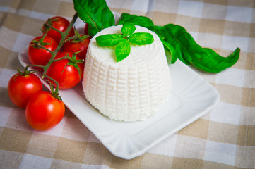 Fresh cottage cheese with basil and cherry tomatoes