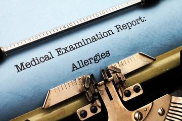Medical report - Allergies