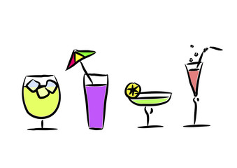 Different cocktails. Vector illustration