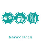 three blue round icons with white silhouettes related to fitness