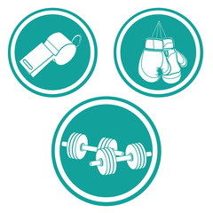three blue round icon with white silhouettes related to fitness