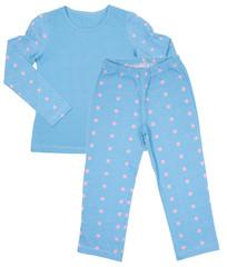 Blue cotton childrens girls pajama set isolated