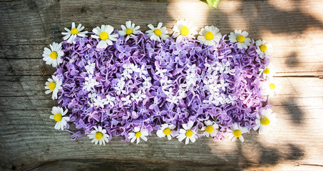 love letters made of lilac flowers