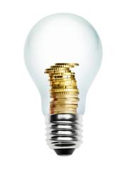 Glühlampe mit Münzen