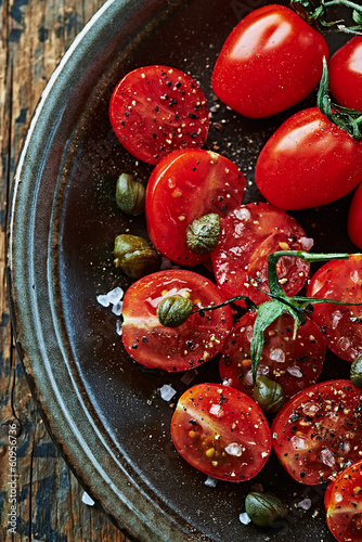 Cherry tomatoes with capers, sea salt and black pepper