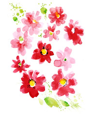 Red watercolor floral motifs