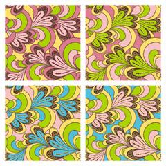 Set bright seamless patterns