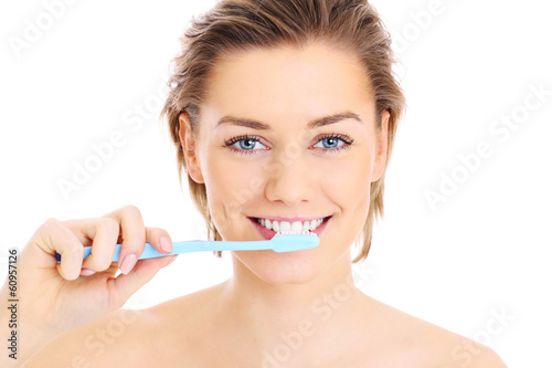 Poster, Tablou Brushing teeth