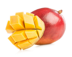 Ripe mango with slice isolated on white