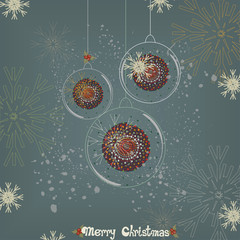 Vintage Christmas card with hanging glass ornaments
