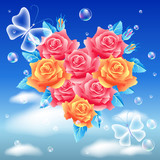 Butterflies and flowers heart poster