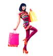 Fashion Shopping Model Girl Full Length Portrait.