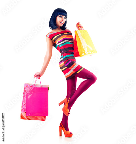 Fashion Shopping Model Girl Full Length Portrait.