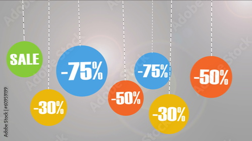 Animated Discount tags with different percentages.