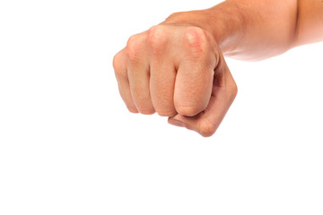 Males hand with a clenched fist isolated