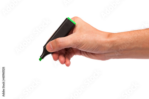 Hand with a marker drawing isolated