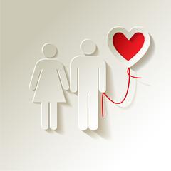 Valentinstag Papier Pärchen mit Herz