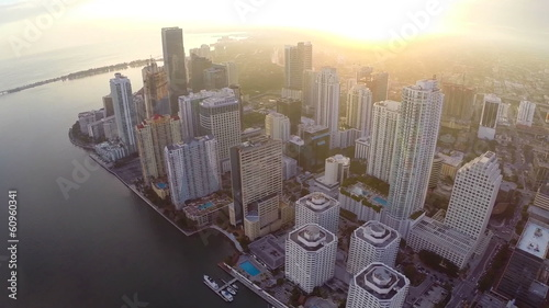 Aerial footage of Brickell at sunset